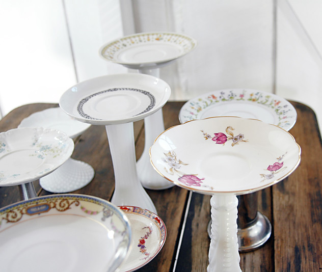 Pillar Candle Holders Repurpsed from Vintage Tea Plates, Bud Vases & Candlesticks