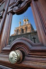 The door in front of the church