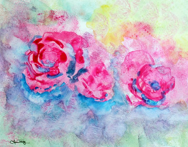 Abstract Watercolor Rose Abstract Watercolor Painting