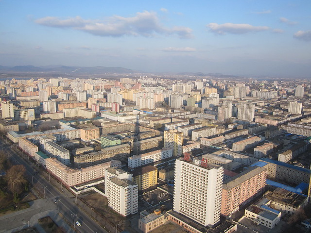 Pyongyang skyline from top of Juche Tower