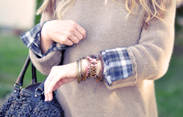 casual outfit -  watches and bracelets-writst-cuffs-plaid