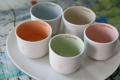 group of squam tea cups