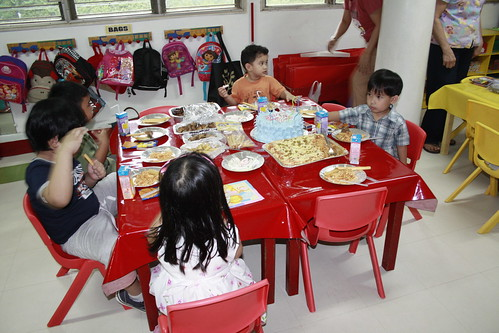 at his party with his classmate