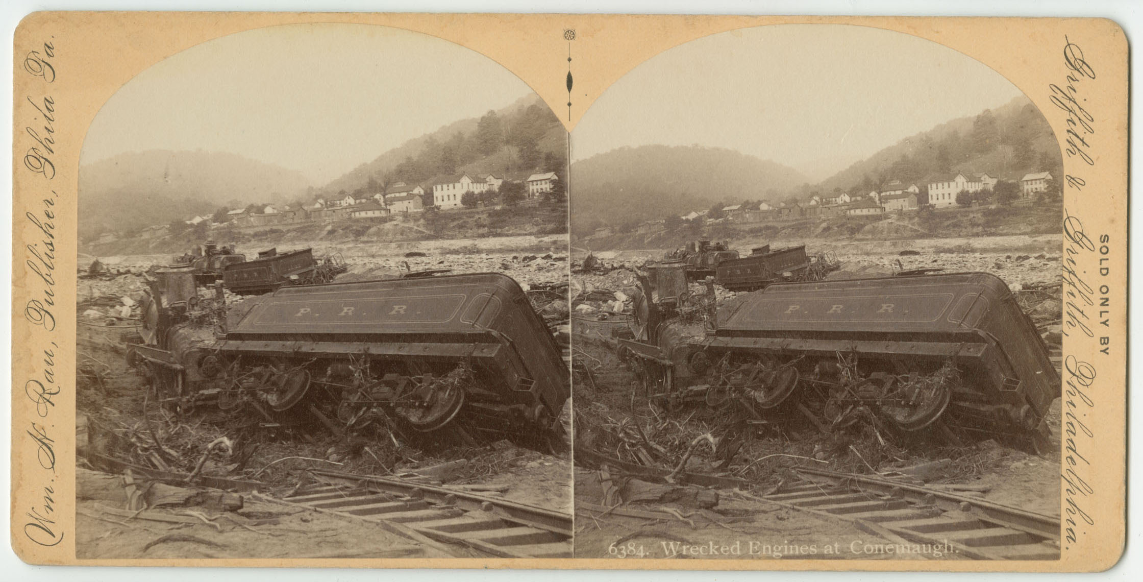 Wrecked engines at Conemaugh. ca. 1889.
