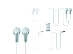 A pair of travel earphones with an integrated sound splitter