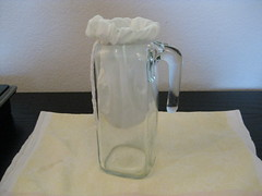 pitcher with jelly strainer bag