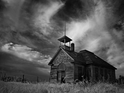 morning sky blackandwhite abandoned rural sunrise am decay iowa belltower infrared schoolhouse mtayer
