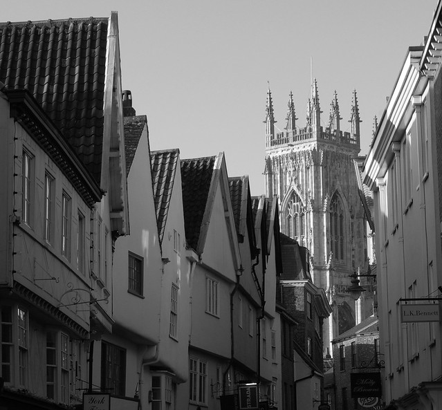 Medieval Townscape Winter Sun bw
