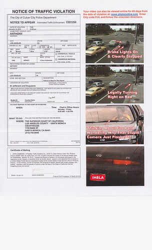 Red Light Traffic Camera Ticket.  Great Ideas