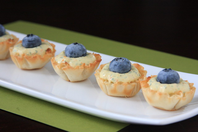 Basil, Kumquat and Blueberry Canapés