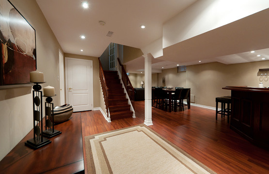 Stairs and walk out finished basement flickr photo for Finished walkout basement ideas