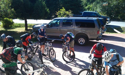 Pre ride bike check at the T2R riders lodge