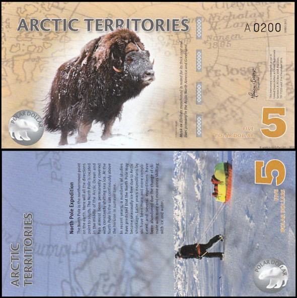 5 Polárnych dolárov Arktída 2012, polymer