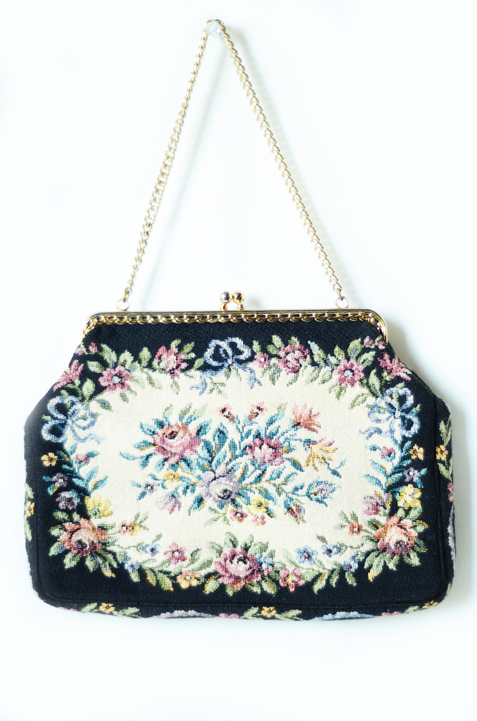 Vintage Carpet Bag with Floral and Black Pattern