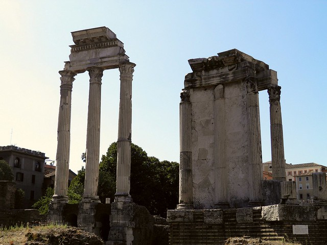 Temple of Castor and Pollux (left) and the Temple of Vesta (right), Rome