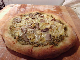 Finished Artichoke Pesto Pizza