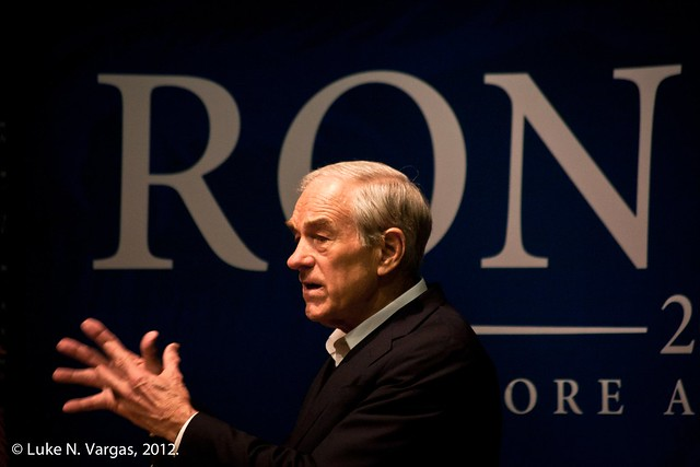 Ron Paul Presents with his Hands