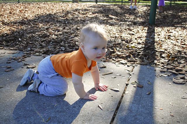 Crawling at Delaney Park.