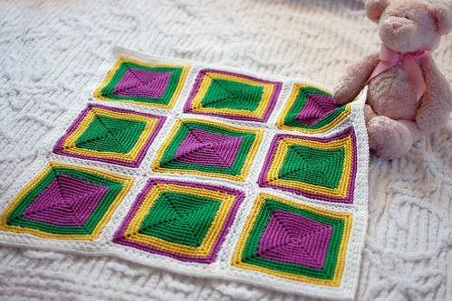 purple, yellow and green crocheted nine-patch