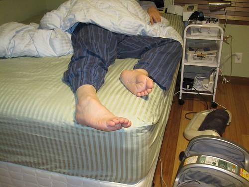 He is an untidy sleeper.