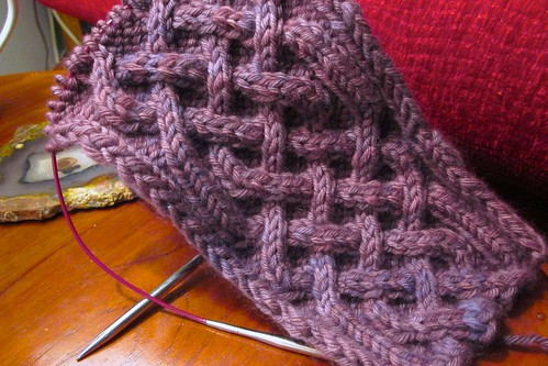 Celtic Cable Neckwarmer: wip-2