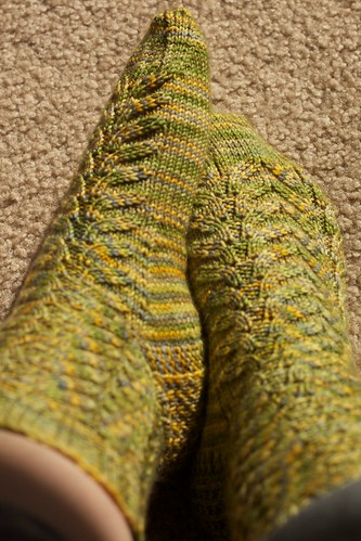 Corn on the Cob socks, on feet