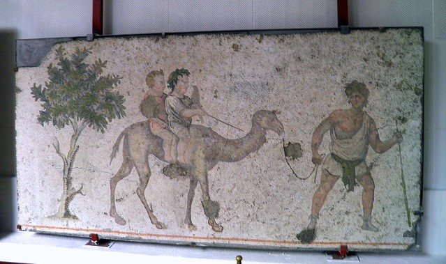 Children on a dromedary from a 6th century mosaic, Palatium Magnum (Constantinople's Great Palace), Palace Mosaic Museum, Istanbul Palace Mosaic Museum, Istanbul