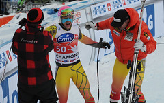 Erik Guay and Jan Hudec congratulate Ben Thomsen on his epic fifth-place finish after starting 50th in the downhill in Chamonix, France.