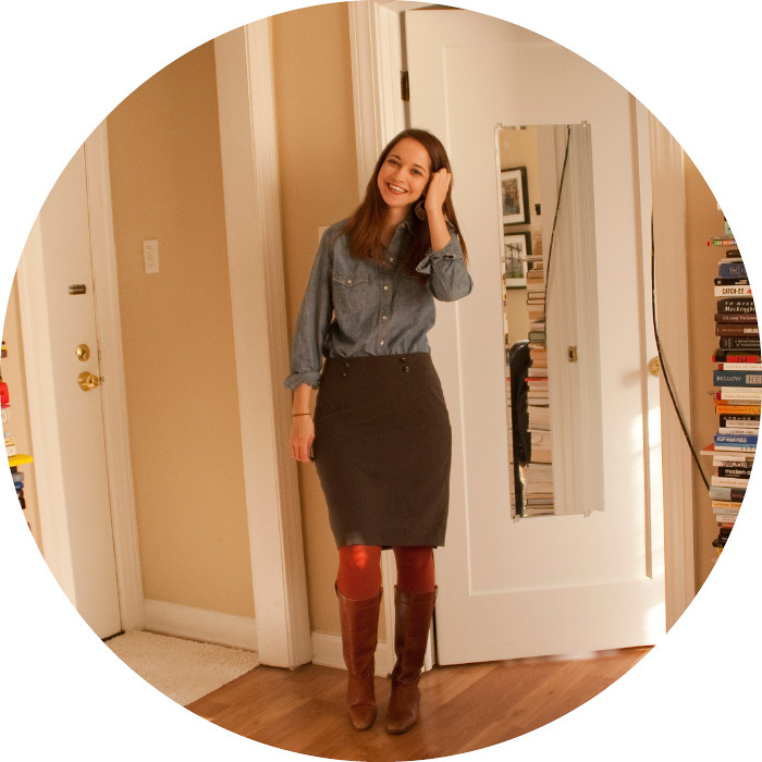 dash dot dotty, ootd, outfit blog, chambray, pencil skirt, business casual, rust tights, cognac boots, blue and orange, workfit