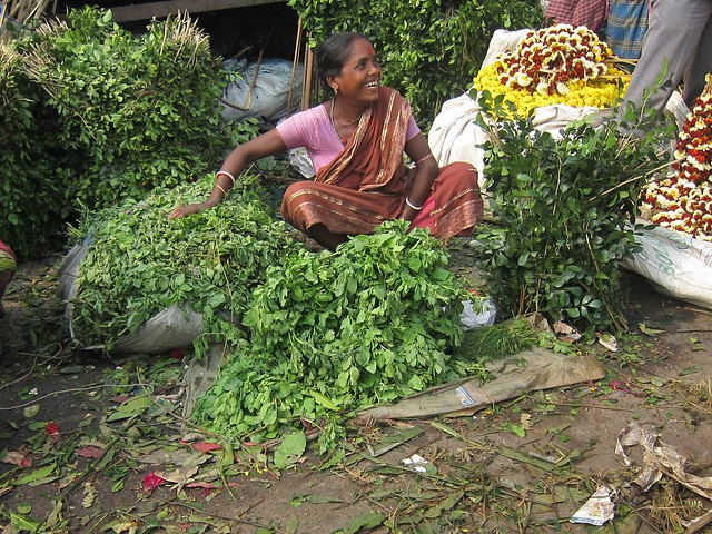 Laughing Woman at Howrah Flower Market