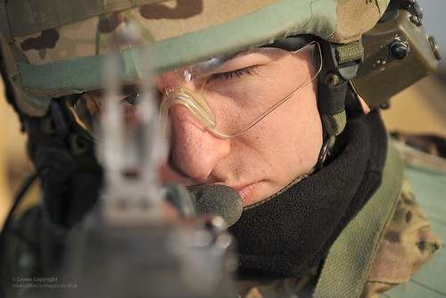 A Soldier Aims his General Purpose Machine Gun