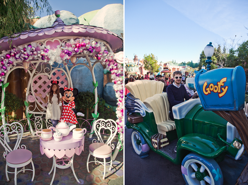 meeting minnie mouse and gofy car