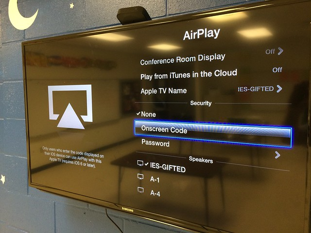 Select Onscreen Code for Apple TV AirPlay Mirroring