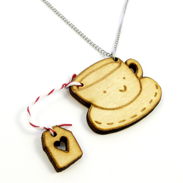 Tea Time Wood Charm Necklace Raspberry Flavor 1