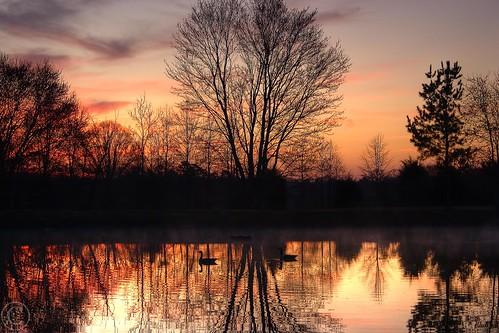 sunrise pond canon20d northcarolina hdr unioncounty photomatix sunrisepond sunrisereflection topazdenoise pondmorning brycehoover 3clixpix