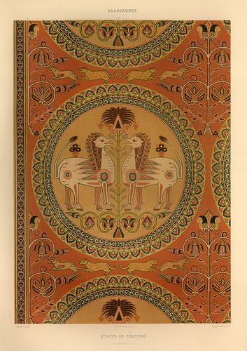 017-Tela teñida siglo XII-L'art arabe d'apres les monuments du Kaire…Vol 3-1877- Achille Prisse d'Avennes y otros.