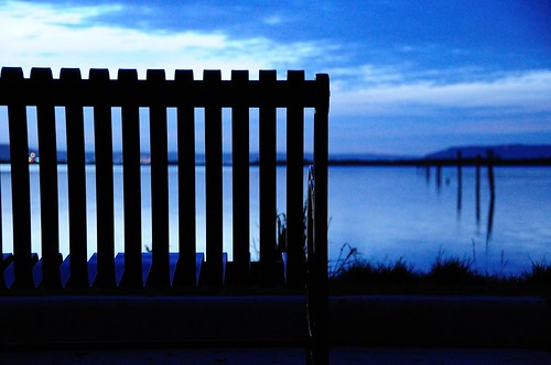 blue sunset water clouds bench evening bokeh pugetsound pilings cmwd