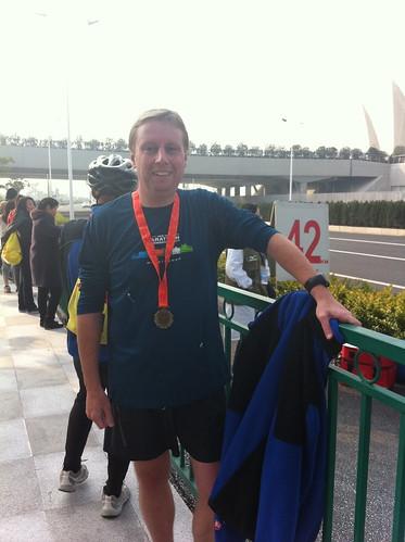 Marc after the finish of the Shanghai Half Marathon 2011