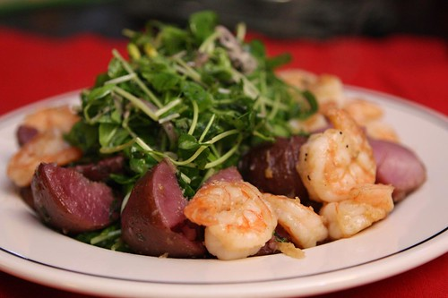 Garlic Lemon Shrimp and Adirondack Red Potatoes with Pea Shoot Poppy Lemon Salad