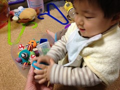 散らかったおもちゃを渡すと片付けるよ^^ (2011/12/7)
