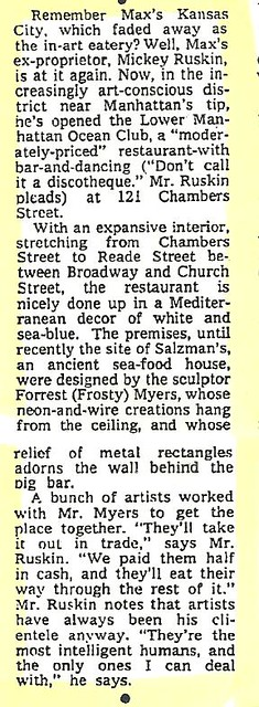 05-14-76 NYT - Mickey Ruskin Lower Manhattan Ocean Club