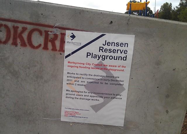 Maribyrnong playground - no longer underwater