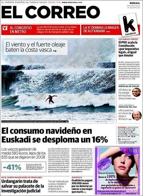 Surfeando el temporal, portada de El Correo de Bilbao