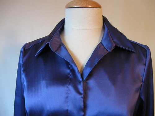 Blue silk blouse collar