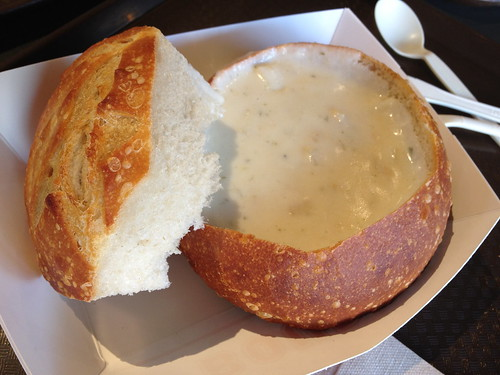 Clam Chowder in a Sourdough Bread Bowl
