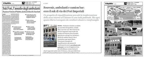 ROMA ARCHEOLOGICA - Souvenir, ambulanti e camion bar: ecco il suk di «Via della Latrina Imperiale». Corriere della Sera (17/12/2011) & La Repubblica (21/08/2007).