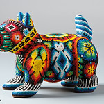 The Huichol Art with PRECIOSA seed beads (Dog)
