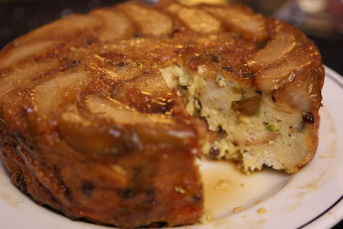Eggnog Bread Pudding with Carmelized Pears