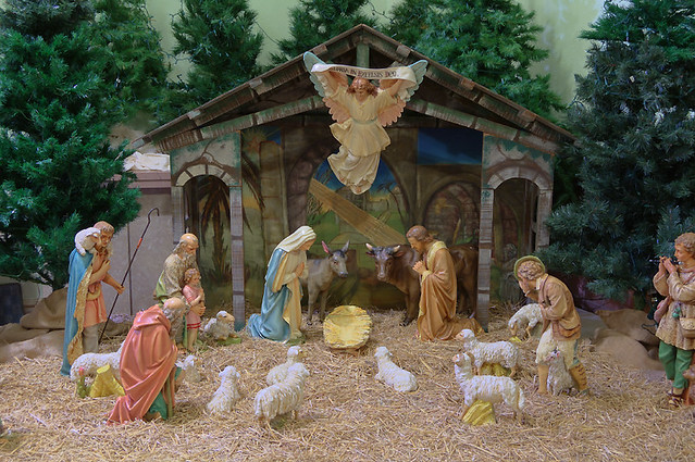 Immaculate Conception Roman Catholic Church, in Columbia, Illinois, USA - manger scene