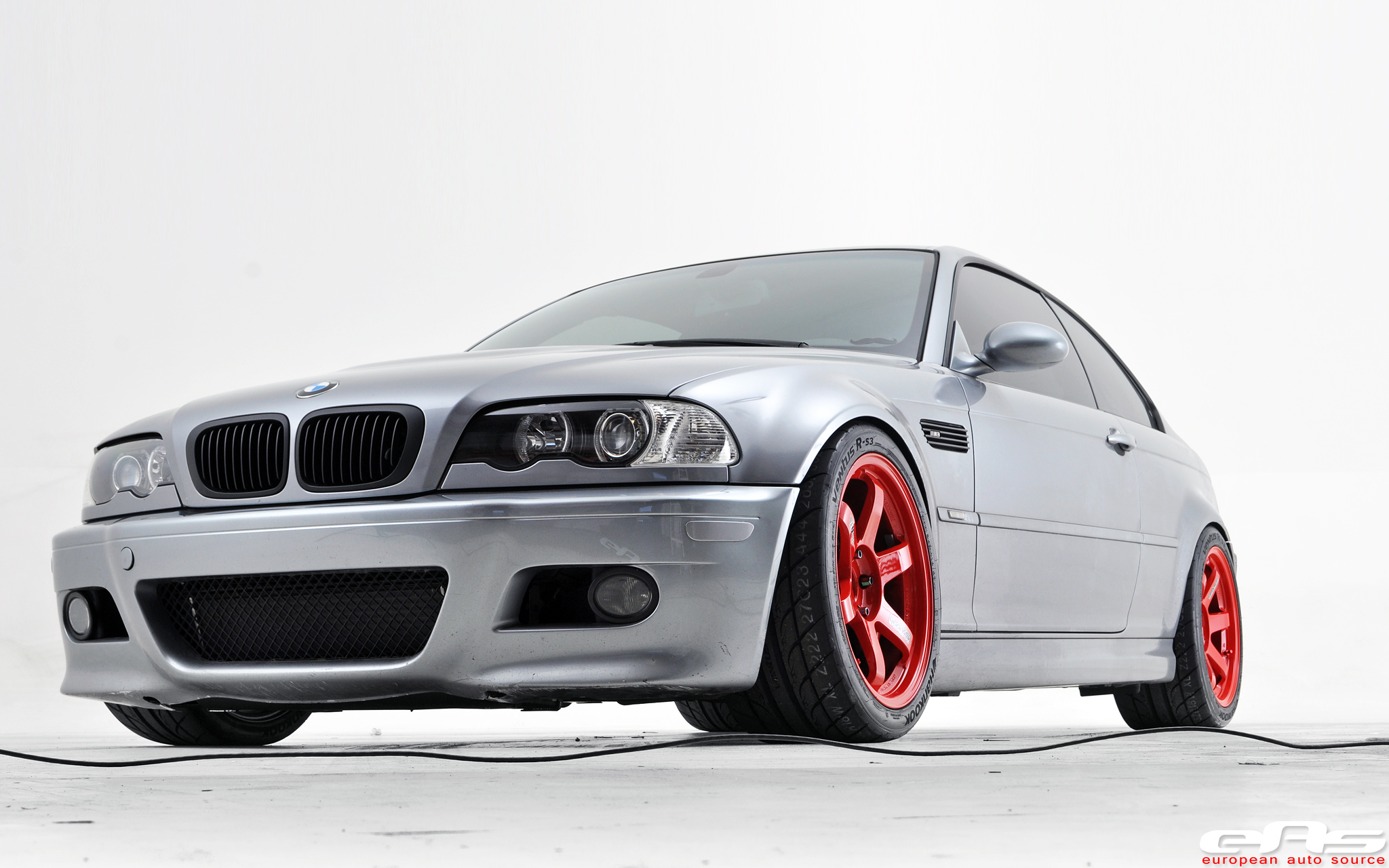 Red Te37sls Mounted On Silver Gray E46 M3 Bmw Performance Parts Services